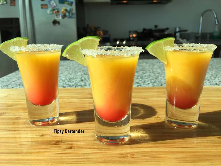 Tequila sunrise shot top shelf pours for Best tequila for tequila sunrise