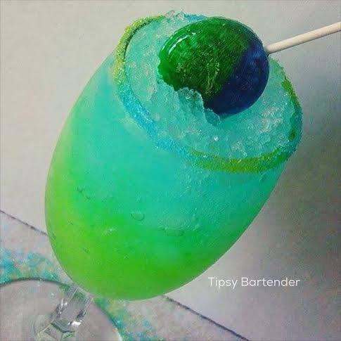 Razz Melon Sour Cocktail