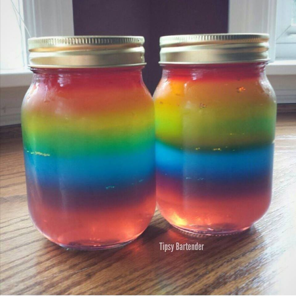 Mason Jar Rainbow Jello Shots