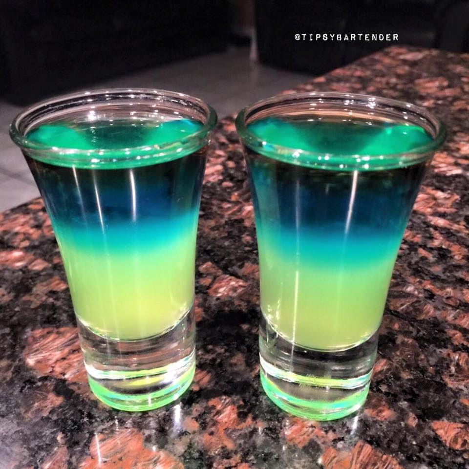 Night lights shot top shelf pours for Great vodka mixed drinks